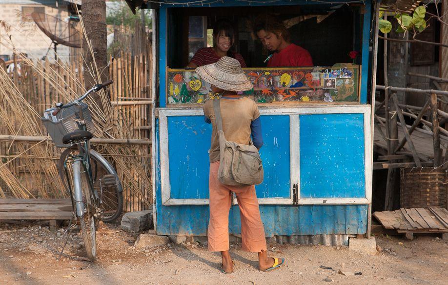 Myanmar (Burma) Nyaungshwe boy at shop