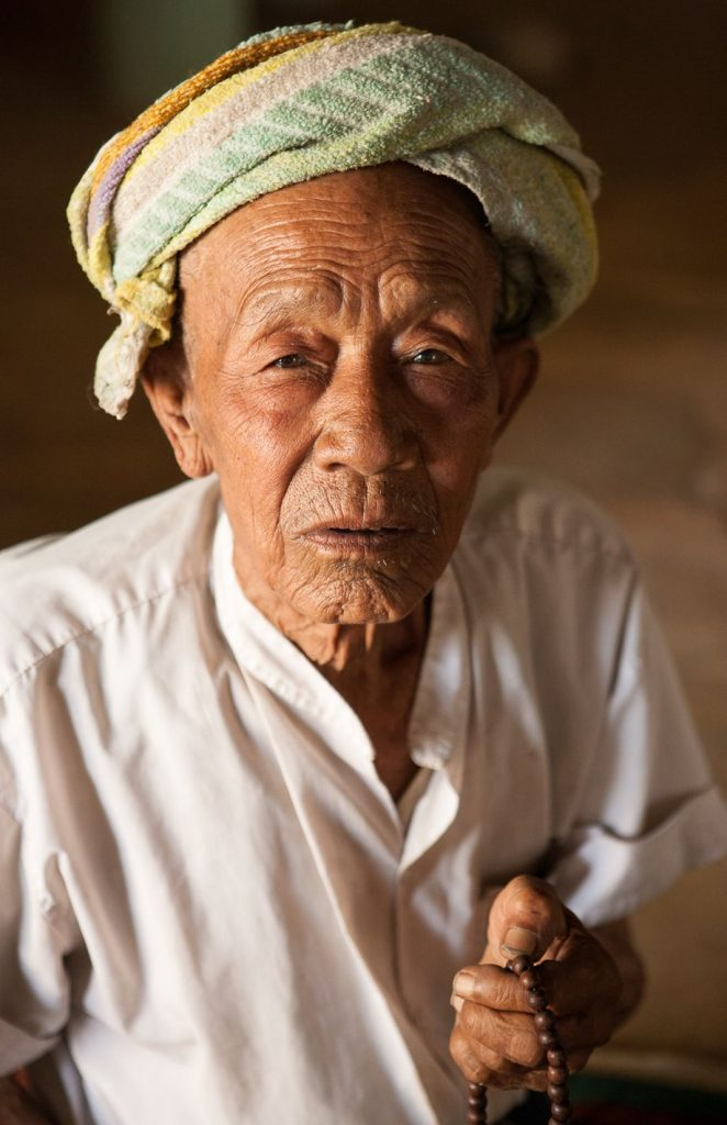 Portrait of an old Shan man in Myanmar (Burma) Lake Inle
