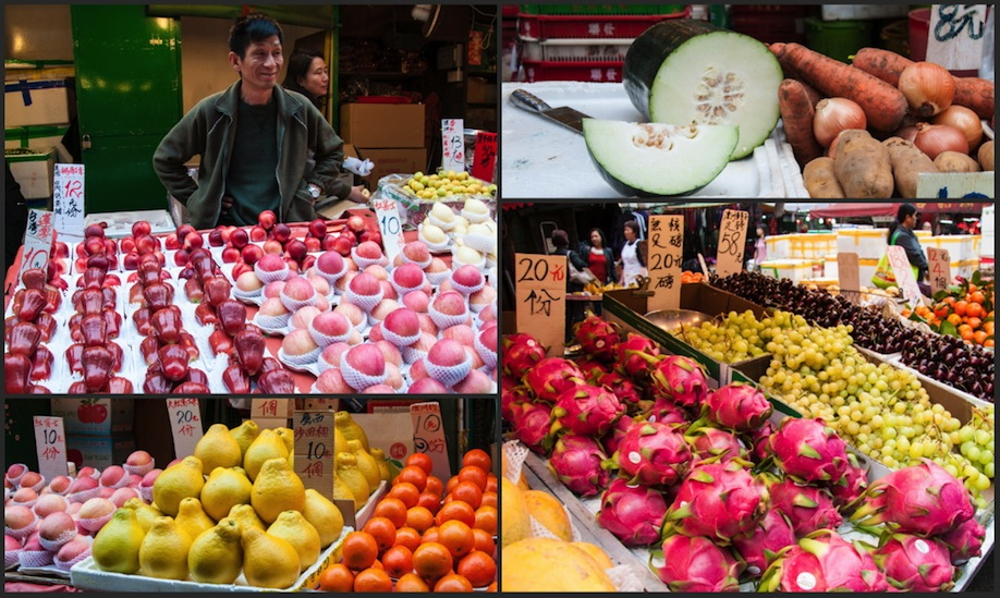 10_Photo collage of a wet market in the streets of Hong Kong