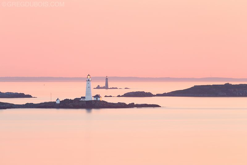 Boston Light and The Graves Light at Sunrise with Boston Harbor