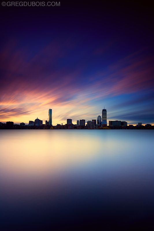 Surreal Sunrise over Back Bay Boston Skyline Silhouette and Char