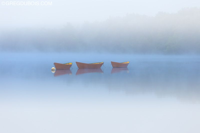 Moored Dory Boats on Merrimack River at Dawn with Heavy Fog and