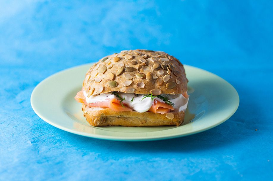 26 pumpkin seed roll with smoked salmon and sour cream