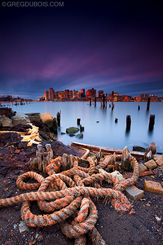This old nautical rope is one of my favorite subjects in East Boston. I caught some nice sunrise light hitting the buildings downtown. Through the duration of the exposure several types of clouds travelled through the scene, resulting in an interesting effect to the sky.  LEE Filters Big Stopper  LEE Filters Hard-Edge 0.9 GND
