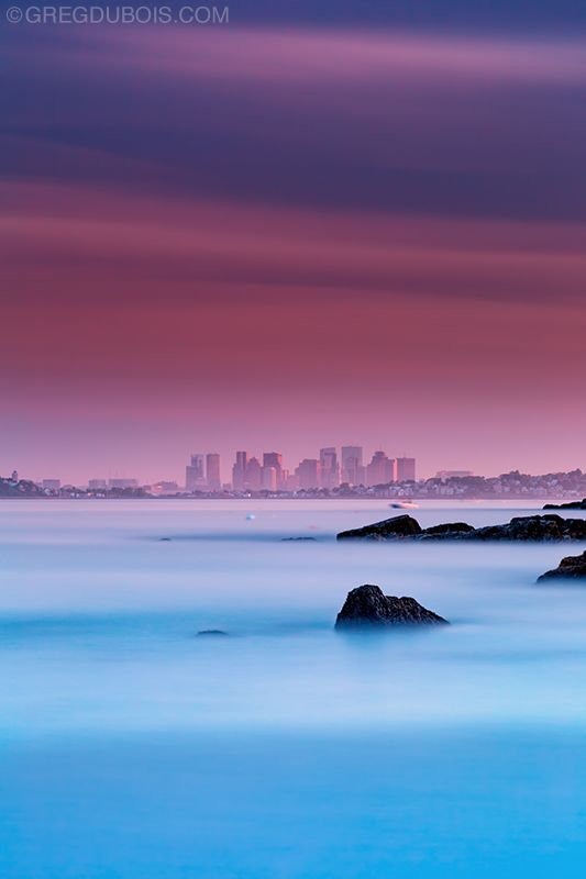 "Here is a fun angle of Boston from Nahant. Looking out past Bass Point and over Revere (right) and Winthrop (left). It was really hazy which made for a great sunset. This was a 250 sec exposure using a Big Stopper in combination with one of LEE's new ""Very-Hard"" graduated filters for precise positioning with a telephoto lens. LEE Filters Big Stopper LEE Filters Very Hard-Edge 0.9 GND"