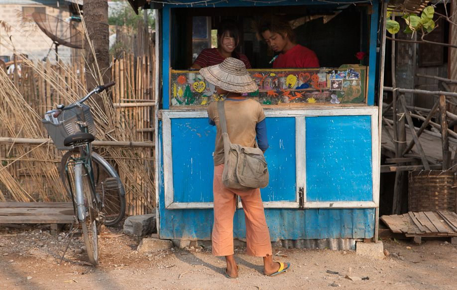 Myanmar (Burma) Nyaungshwe boy at shop