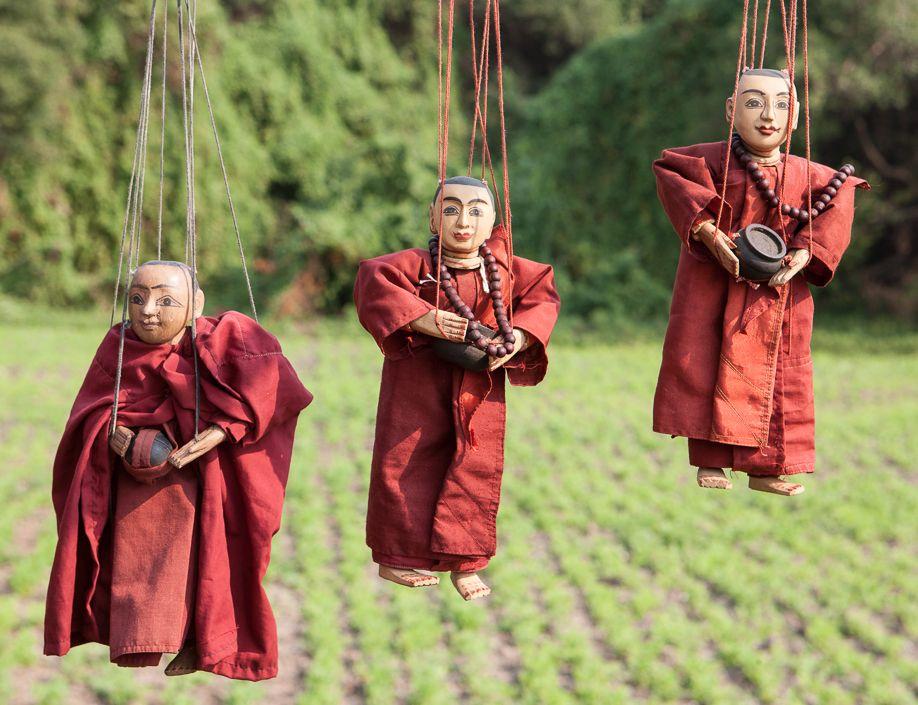 Myanmar (Burma) Ywama village market monk puppets