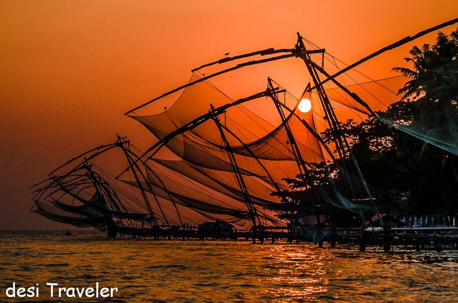 sunset chinese fishing nets