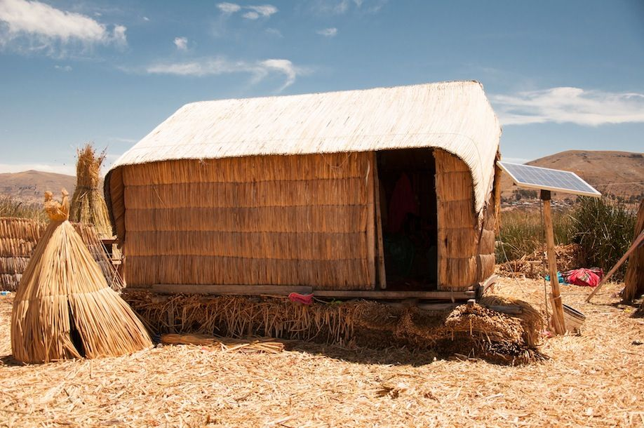 3BKPK_A typical reed house in Uros powered with solar energy