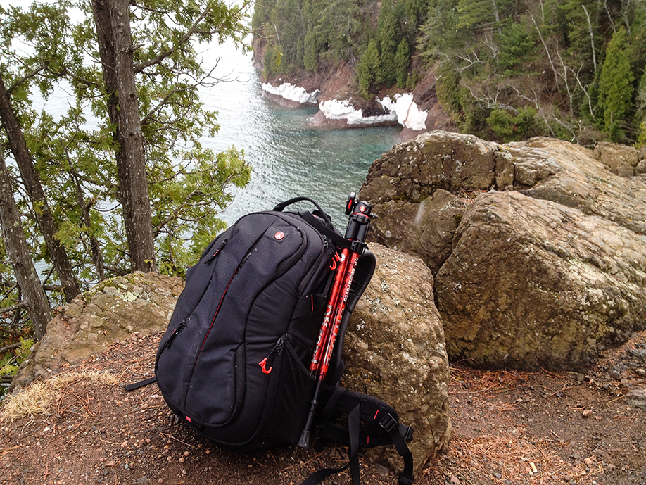The Manfrotto Offroad tripod packs nicely with the Manfrotto Bumblee 220-PL backpack. Its compact design makes for easy travel