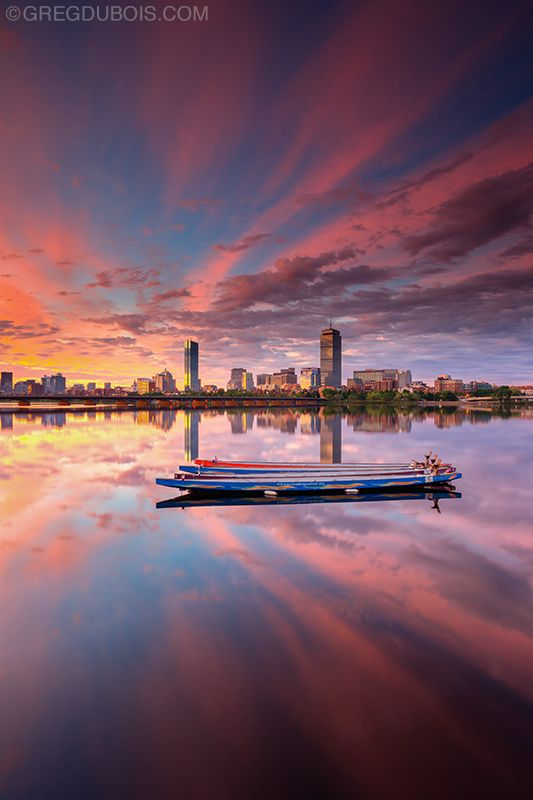 Dragon Boats on Charles River at Sunrise with Boston Skyline and