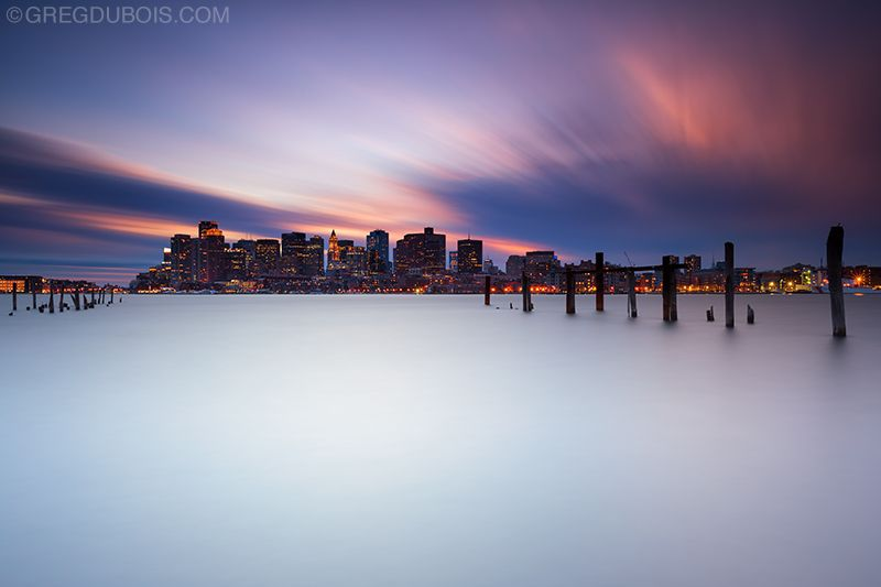 Boston Skyline Sunset with Night Lights from East Boston with De