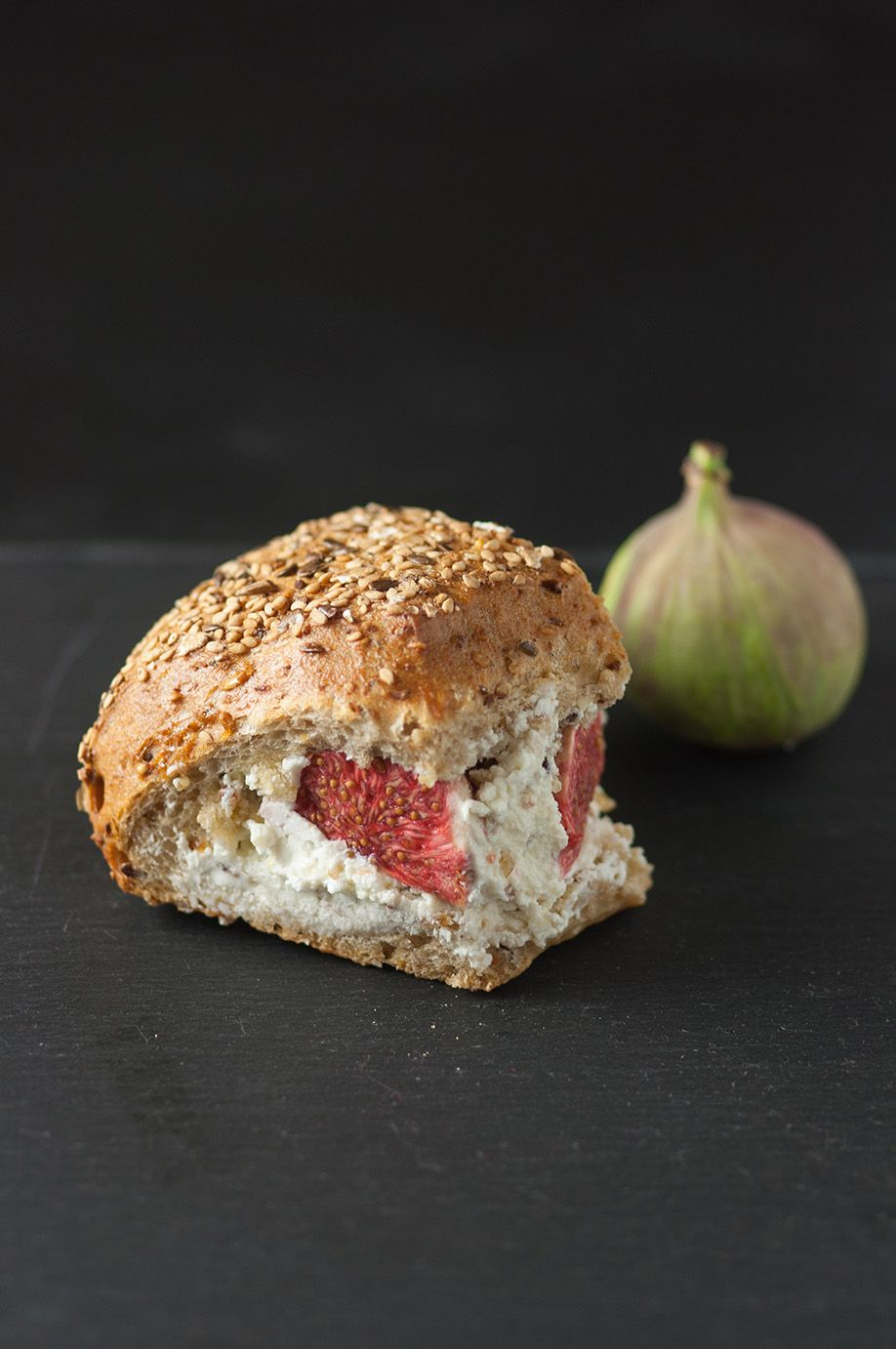 4 seed bread with goat's cheese, walnuts, figs