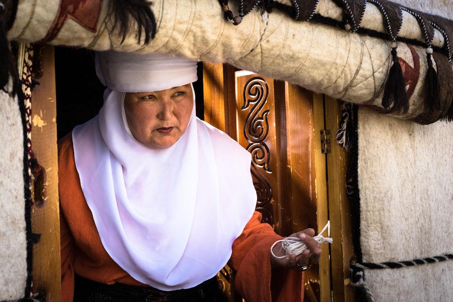Lady Through Yurt Door